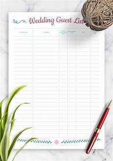 Wedding Invitation List Template Download Printable Wedding Guest List With Gift Section Pdf