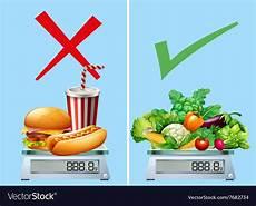 healthy food versus junkfood royalty free vector image