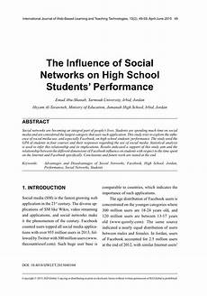 Essay About Social Media Pdf The Influence Of Social Networks On High School