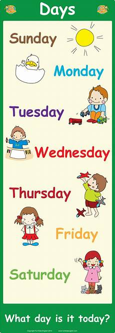 Printable Days Of The Week Chart Free Wall Posters Children S Songs Children S Phonics