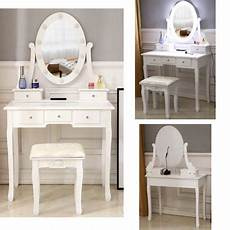 single mirror 5 drawer dressing table stool set with light