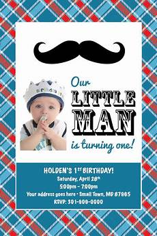 Baby Birthday Party Invitation Little Man Mustache Printable 1st Birthday Party Baby