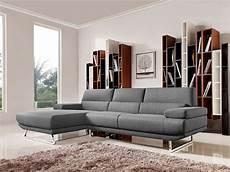 divani casa modern grey fabric sectional sofa