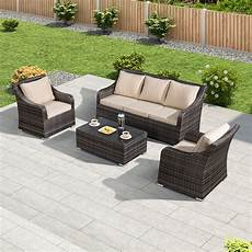 Brown Wicker Sofa 3d Image by Oxley 3 Seat Rattan Sofa Set Brown Crownhill