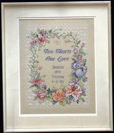 Free Wedding Cross Stitch Patterns Charts Two Hearts Wedding Record Cross Stitch Pattern Counted