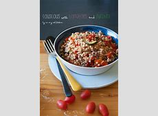 Israeli couscous with tomatoes and zucchini
