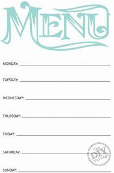 Free Weekly Menu Templates Free Printable Weekly Menu Planner The Diy Village