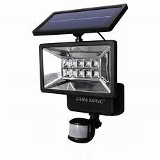 Solar Motion Sensor Light With Alarm Gama Sonic 160 176 Black Outdoor Solar Powered Security Light