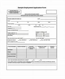 Generic Blank Job Application Generic Employment Application Template 8 Free Pdf