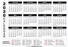 2020 Calendar With Holidays Printable 2020 Calendar With Week Numbers