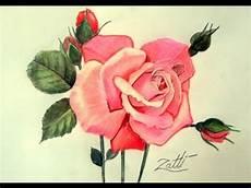como desenhar uma rosa lapis de cor