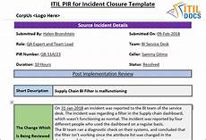 Project Management Incident Report Template Post Implementation Review Template For Incident Closure