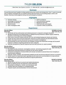Security Job Resume Best Security Officer Resume Example Livecareer