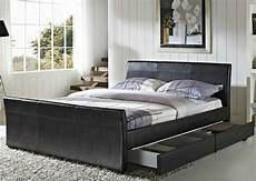 4 drawers faux leather storage sleigh bed king size