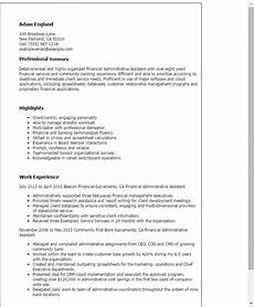 Finance Assistant Cv 1 Financial Administrative Assistant Resume Templates