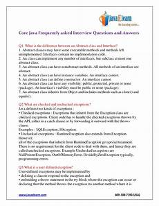 Frequently Asked Interview Questions And Answers Core Java Frequently Asked Interview Questions And Answers
