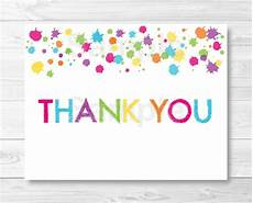 Make Thank You Cards Free Rainbow Art Party Thank You Card Template Art Birthday Party