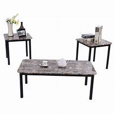 Cf Furniture Living Room 3 Set L Table by 3 Modern Faux Marble Coffee And End Table Set Living