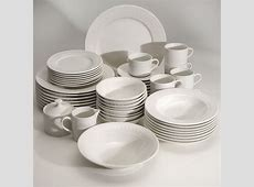 """Bloomingdale's """"Dotted Squares"""" 53 Piece Dinnerware Set"""