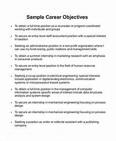 Objective Statement For Resumes Free 7 Sample Career Objective Statement Templates In Ms