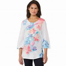 knit tops for 3 4 sleeve passport 3 4 sleeve printed knit top blouses tunics