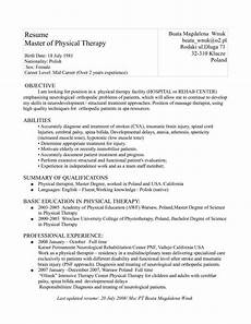 Physiotherapy Resume Sample Resume Format For Physiotherapist Job Pernillahelmersson