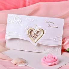 Wedding Invitation Card With Photo Heart Style Tri Fold Invitation Cards Set Of 50