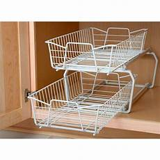 2 tier kitchen cabinet pantry wire sliding shelf