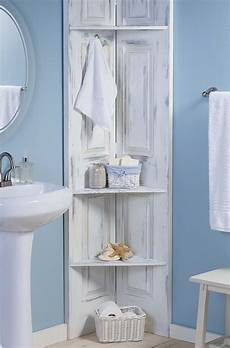 shelves in bathroom ideas build these bathroom corner shelves from bi fold doors