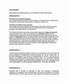 Recommendation Letter For Student From Employer 6 College Reference Letter Templates Free Sample