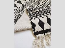 HEBE Cotton Area Rug Set 2 Piece 2'x3' 2'x4.2' Machine Washable Black and Cream White Hand Woven