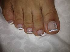 French Tip Toe Designs Sparkly French Pedicure Minus The Toe Hairs Preside I