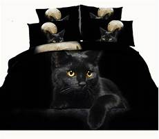 moon black cat 3d reactive printed bedding sets