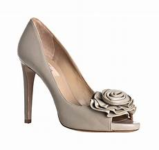 Light Grey Pumps Valentino Light Grey Leather Rosette Peep Toe Pumps In