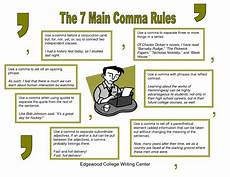When Do I Use A Comma Rules For Using Commas Up For Writing Center Poster