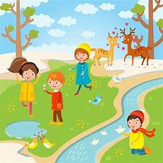Playing Kids Cartoon Spring Or Summer Kids Playing Vector Illustrations