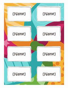 Name Tag Templates Word Name Badges Bright Design 8 Per Page Works With Avery