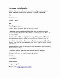 Letters Of Agreement Templates Agreement Letter Template