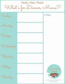 Weekly Dinner Schedule Printable Weekly Menu Planner Weekly Menu Planners