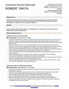 Career Objective For Customer Service Customer Service Advocate Resume Samples Qwikresume