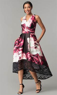 floral print high low wedding guest dress with lace