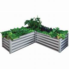 the organic garden co 150 x 150 x 41cm zinc l shape raised