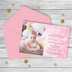 Christening Invitations Girl Pink Baptism Christening Invitation Digital File Ebay