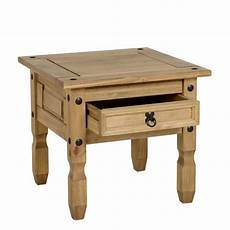 corona 1 drawer l table in distressed waxed pine