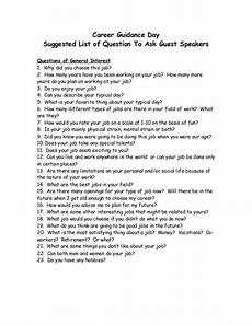Questions For Career Fair Career Guidance Day Suggested List Of Question To Ask