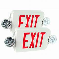 Location Exit Light Combo 2x Led Exit Sign Amp Emergency Light High Output Red