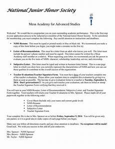National Honor Society Letter Of Recommendation From Coach National Junior Honor Society Mesa Academy For Advanced