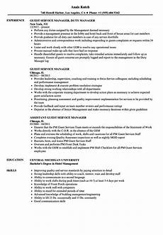 Guest Services Resume Resume And Guest Services Manager Guest Service Manager