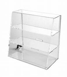 clear acrylic display with flat shelves locking display