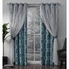 Curtain Images Carmela Turquoise Layered Geometric Blackout And Sheer